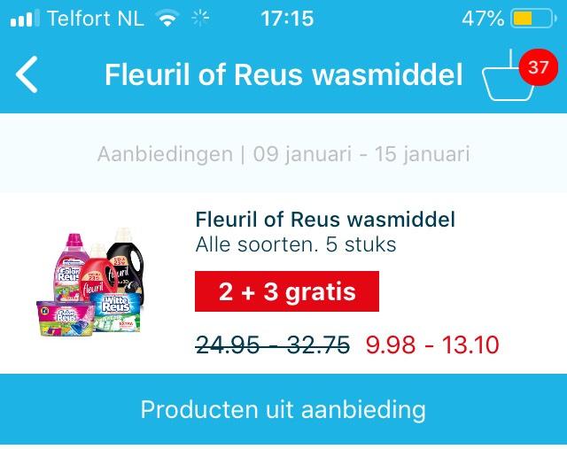 2 + 3 gratis Fleuril of Reus wasmiddel bij Hoogvliet en meer aanbiedingen