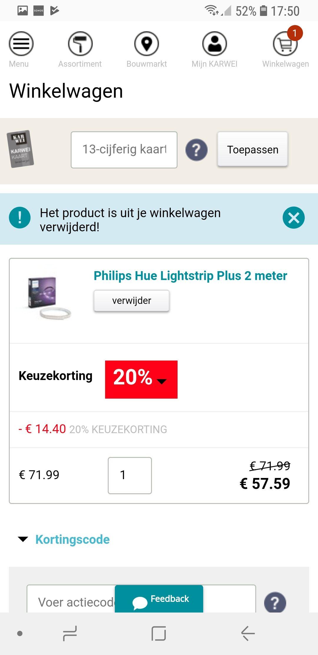 20% korting op 1 product naar keuze bij Karwei.nl o.a. op philips Hue