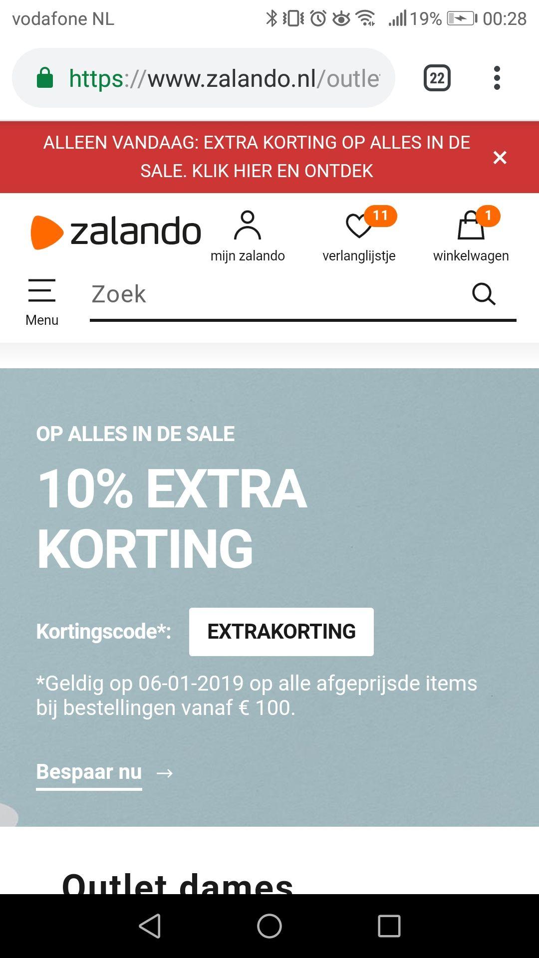 Zalando 10% extra korting
