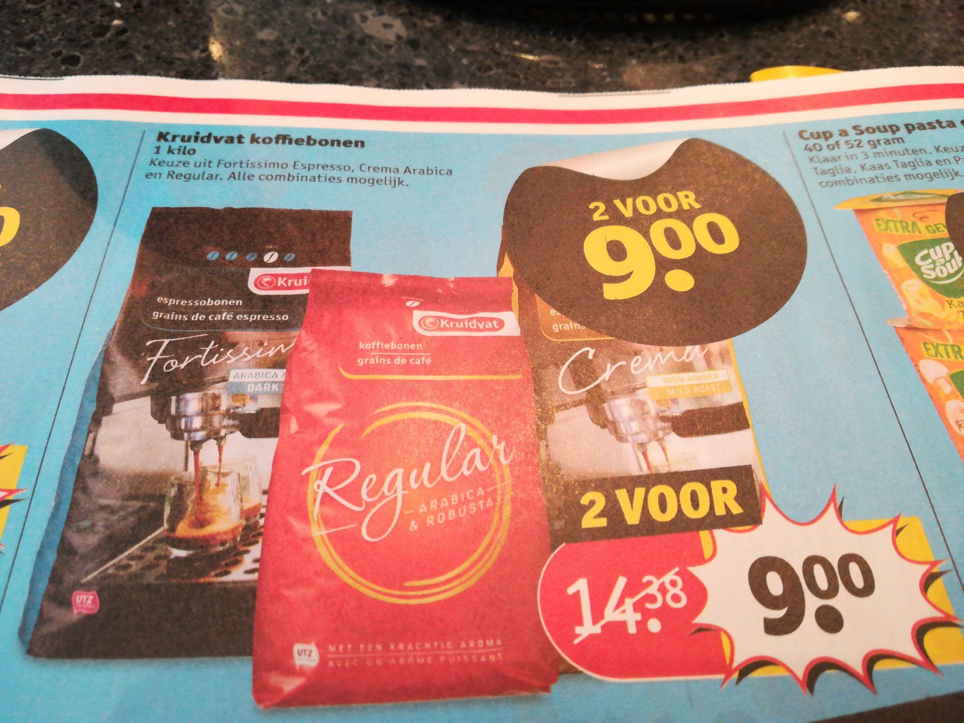 Vanaf a.s. dinsdag 2 kilo koffiebonen voor €9.- bij de kruidvat.
