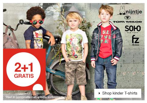 Kids t-shirts - 2+1 GRATIS @ V&D - óók bovenop de SALE