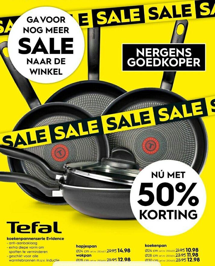 50% korting op Tefal pannen
