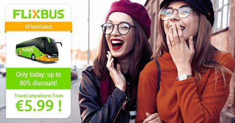 Flash Sale: Tot 80% korting op busreizen in en naar Nederland, België en Engeland bij Flixbus.