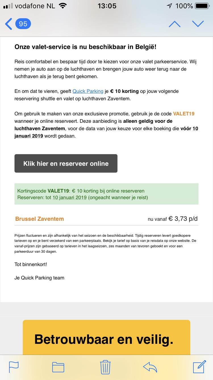 Brussel-Zaventem parkeerkorting -10 euro korting