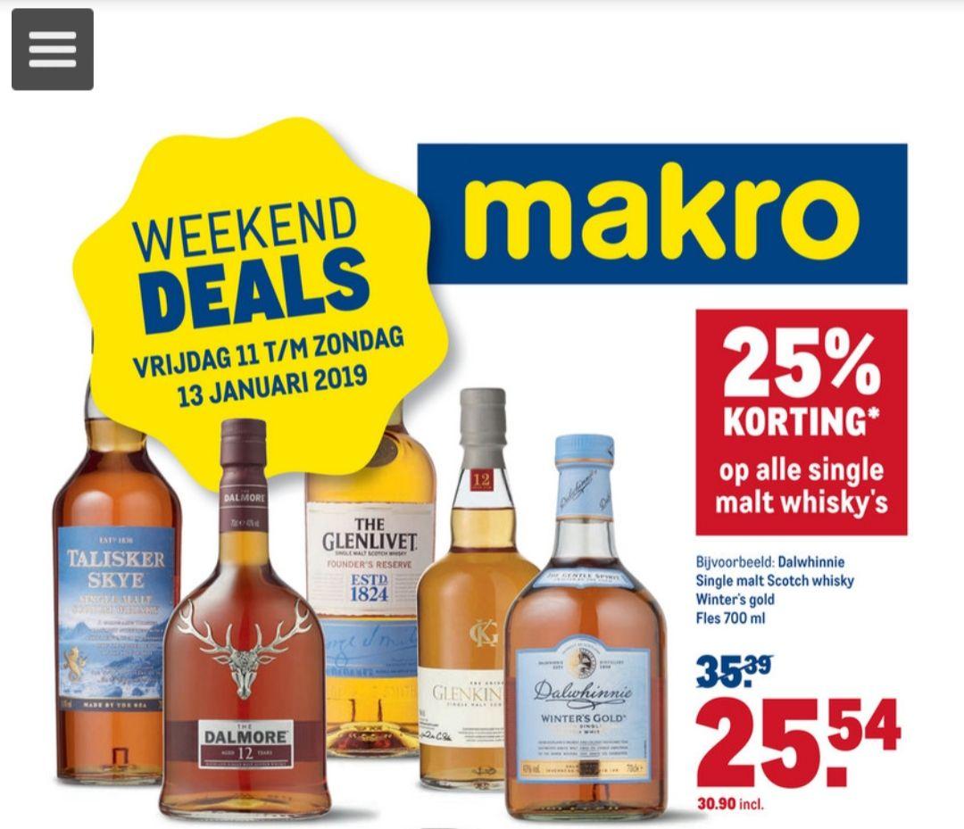 25% korting alle single malt whiskey @Makro