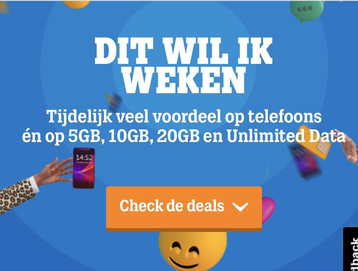 Dit wil ik weken, o.a. 20GB data voor maar €14 bij Tele2