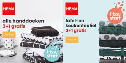 3+1 gratis: bad-, tafel en keukentextiel (ook op sale) @ HEMA
