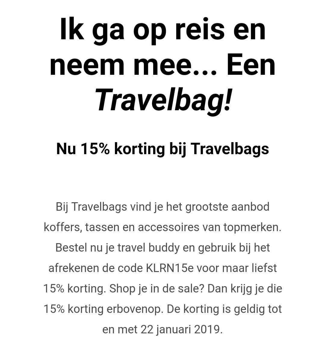 15% korting bij Travelbags.