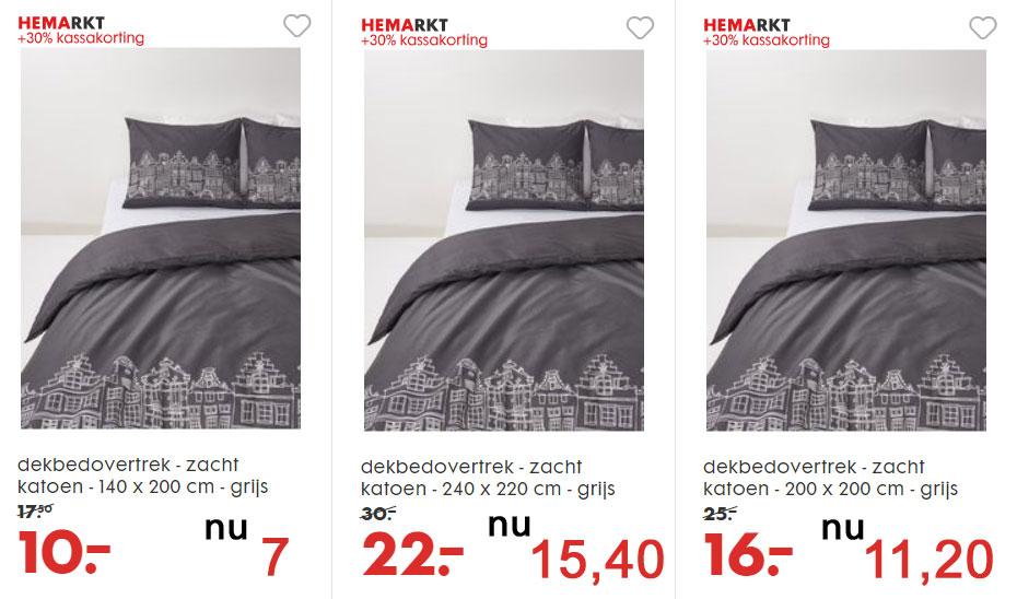 Dekbedovertrek Amsterdamse grachten SALE + 30% extra: nu €7 // €11,20 // €15,40 @ HEMA