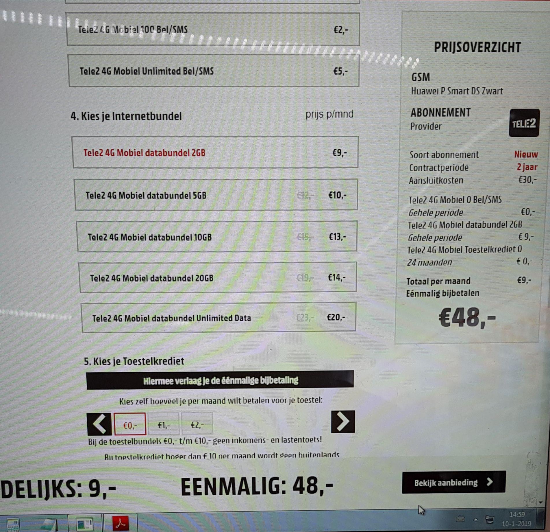 P smart abonnement Tele2 €48 eenmalig + €9,- per maand + 30 aansluit kosten