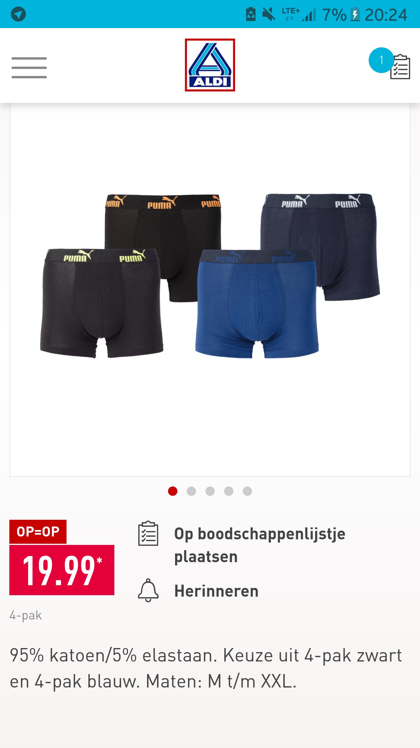 Puma boxers 4-pack voor €19.99 @ aldi