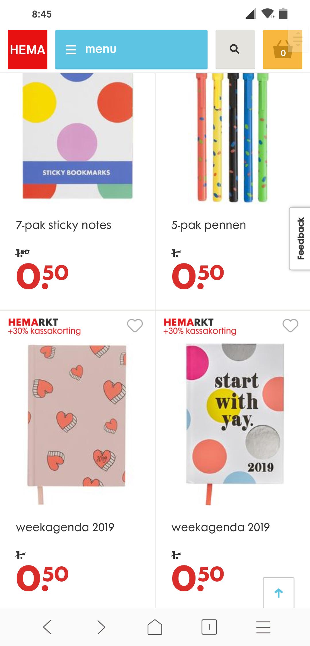 Hemarkt: verschillende artikelen 2 stuks voor 50 cent