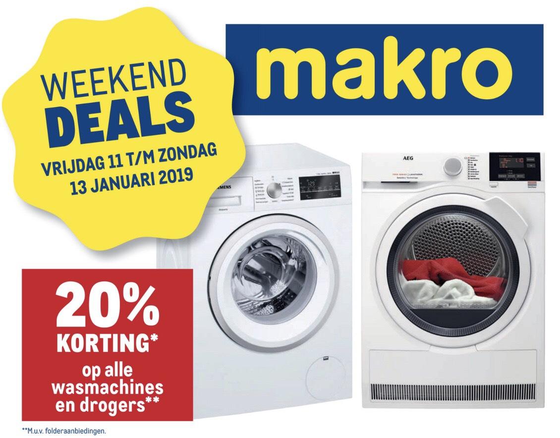20% korting op drogers en wasmachines bij Makro