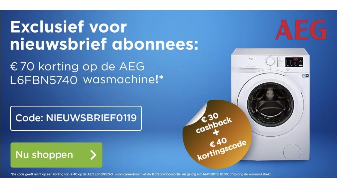 €40 korting op een AEG Wasmachine bij AO.nl