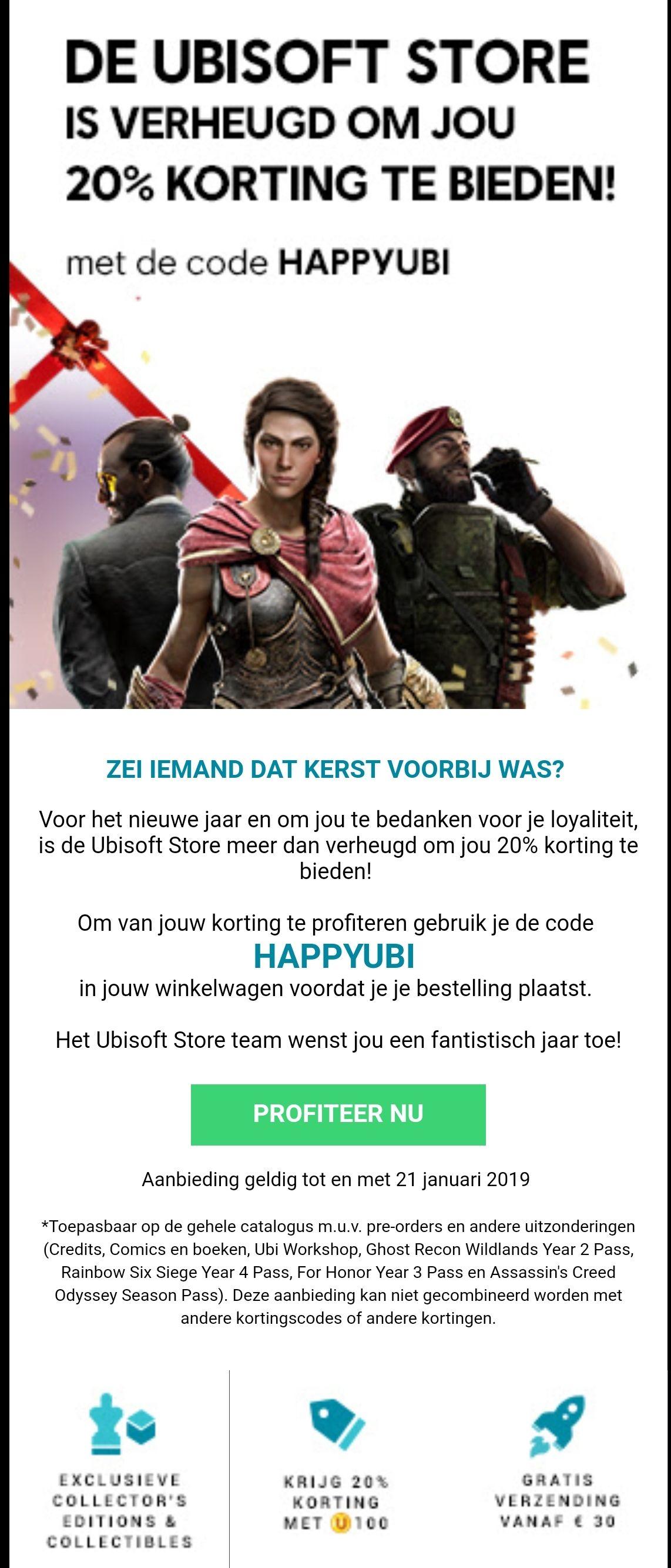 20% korting in de Ubisoft store