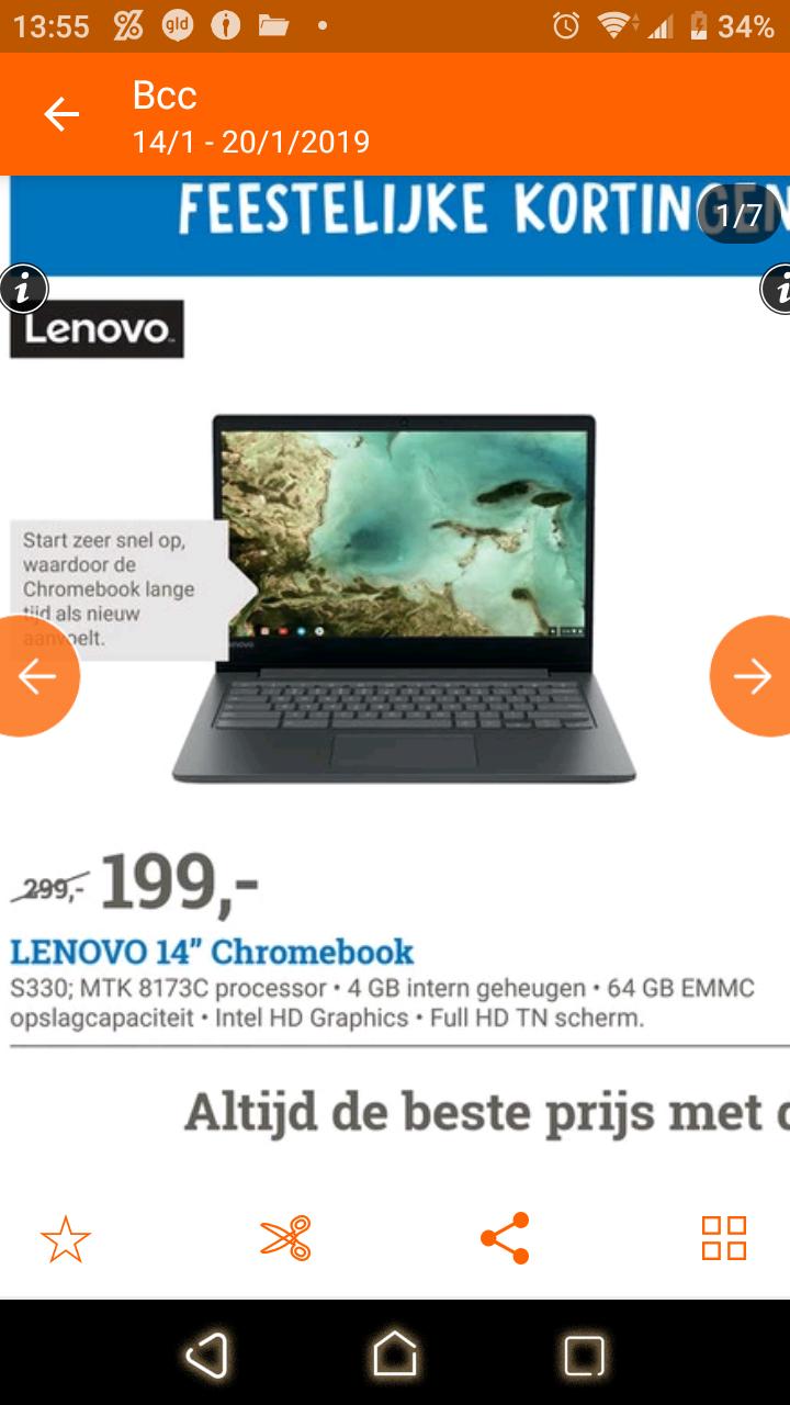 "Vanaf 14/1 BCC/coolblue Lenovo 14"" Chromebook s330 64gb €199"