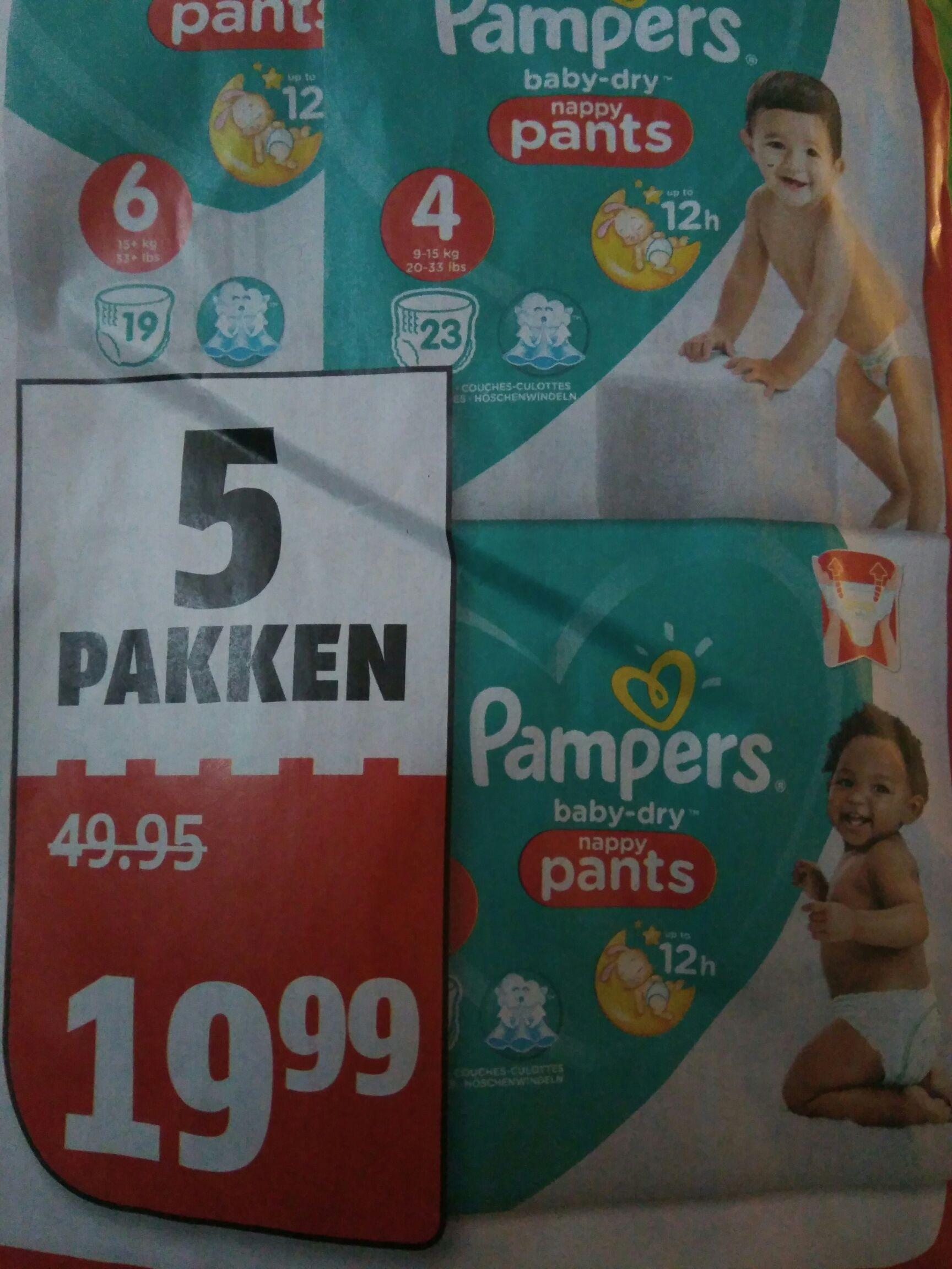 Alle Pampers luierbroekjes 5 pakken voor €19,99 (-60%) @Poiesz