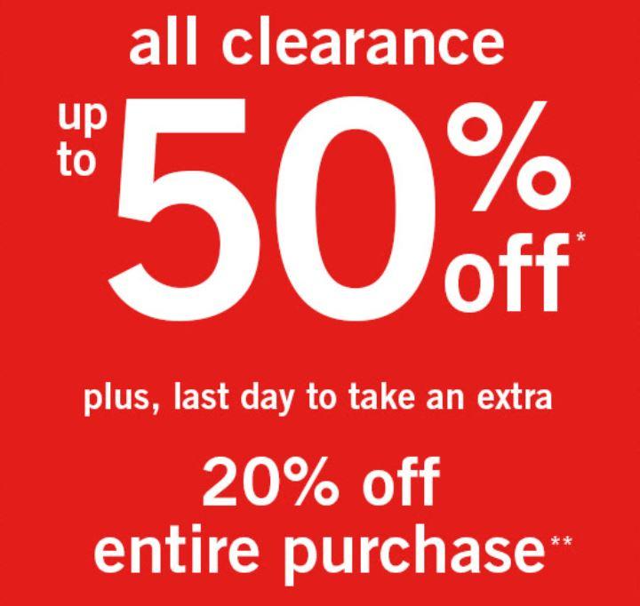SALE + 20% extra (va 2 items) @ Abercrombie & Fitch
