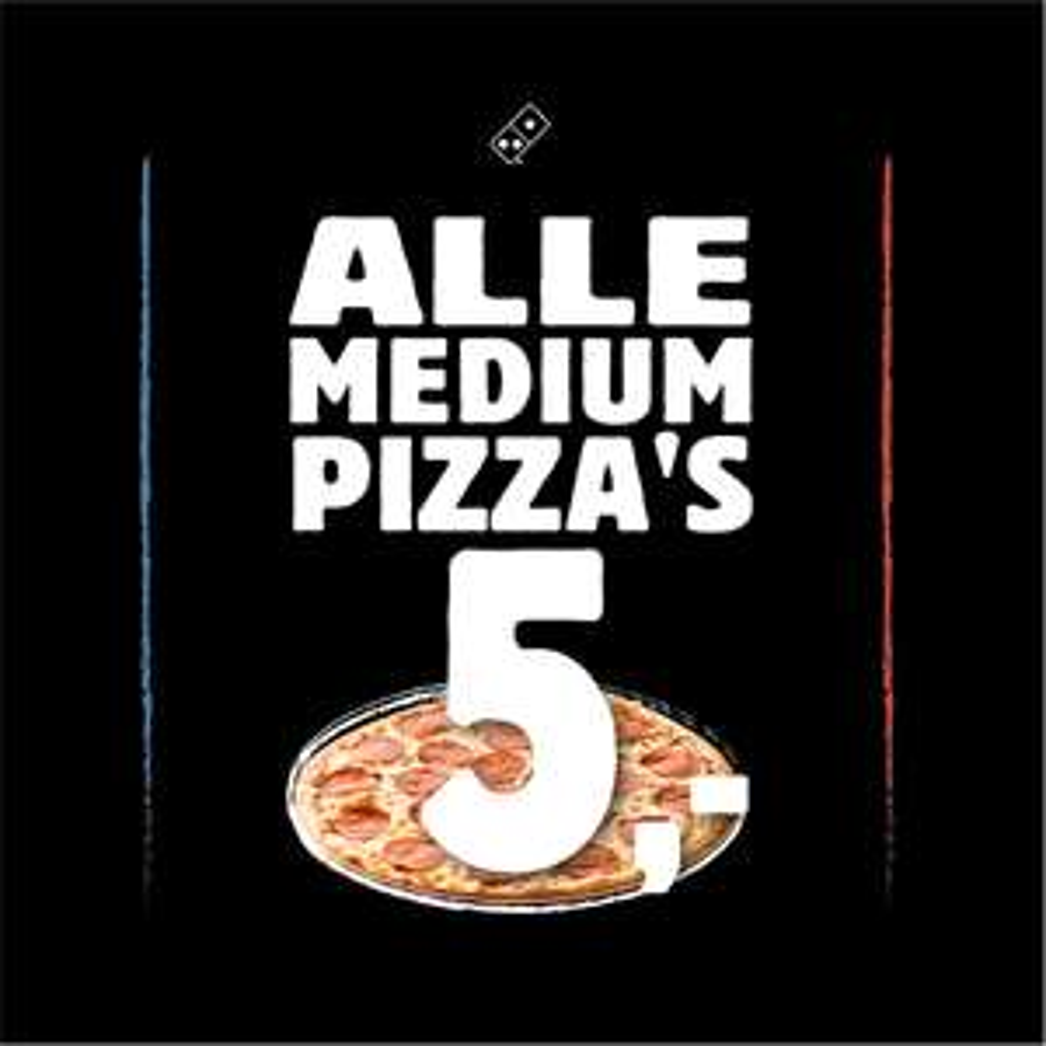 Alle Medium Pizza's €5 (ook Vegan én Glutenvrij)