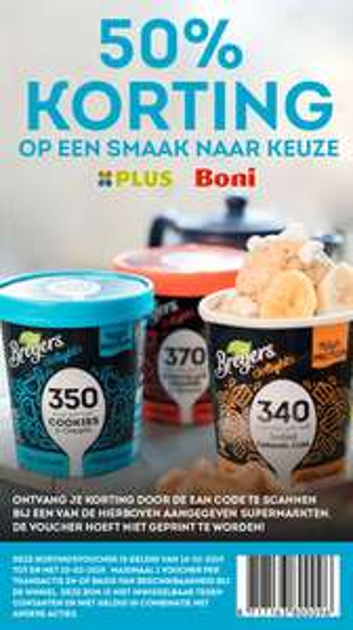 50% korting op Breyers Delights ijs bij Plus en Boni