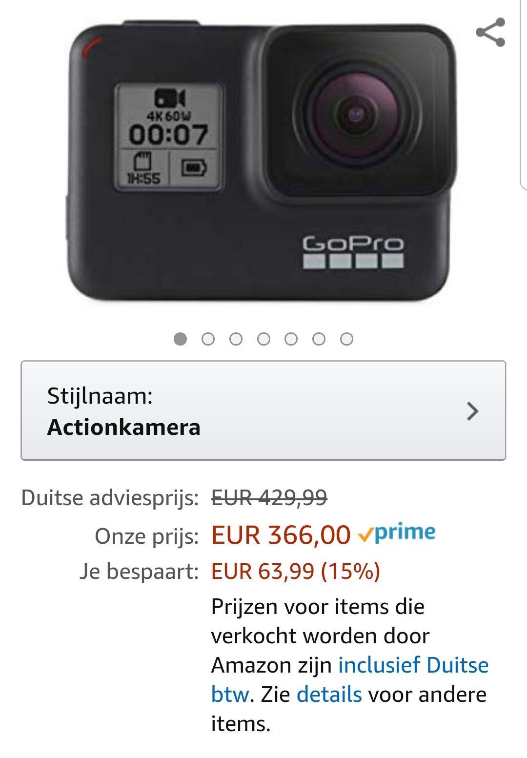 Gopro Hero 7 black voor 366 bij amazon.de