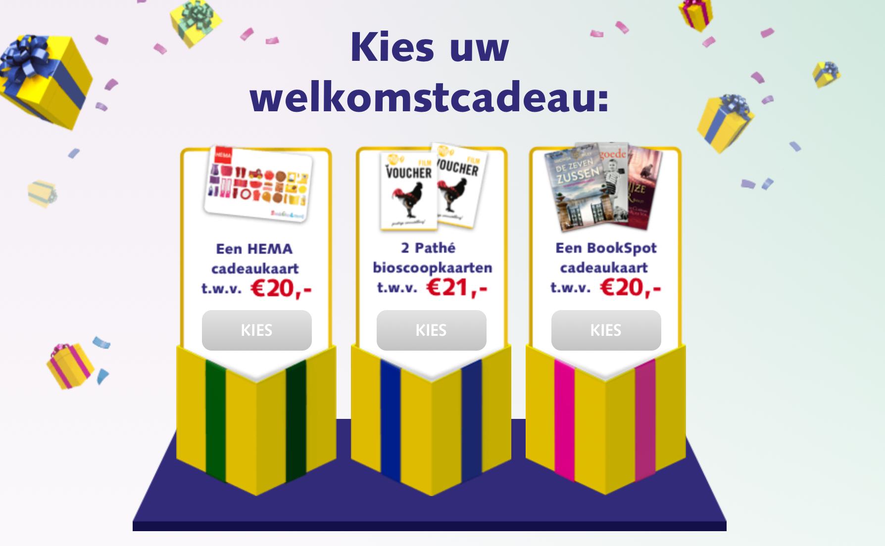 Bookspot cadeaukaart t.w.v. € 20,-, 2 Pathé bioscoopkaarten t.w.v. € 21,- of een HEMA cadeaukaart t.w.v. € 20,-  @bankgiroloterij