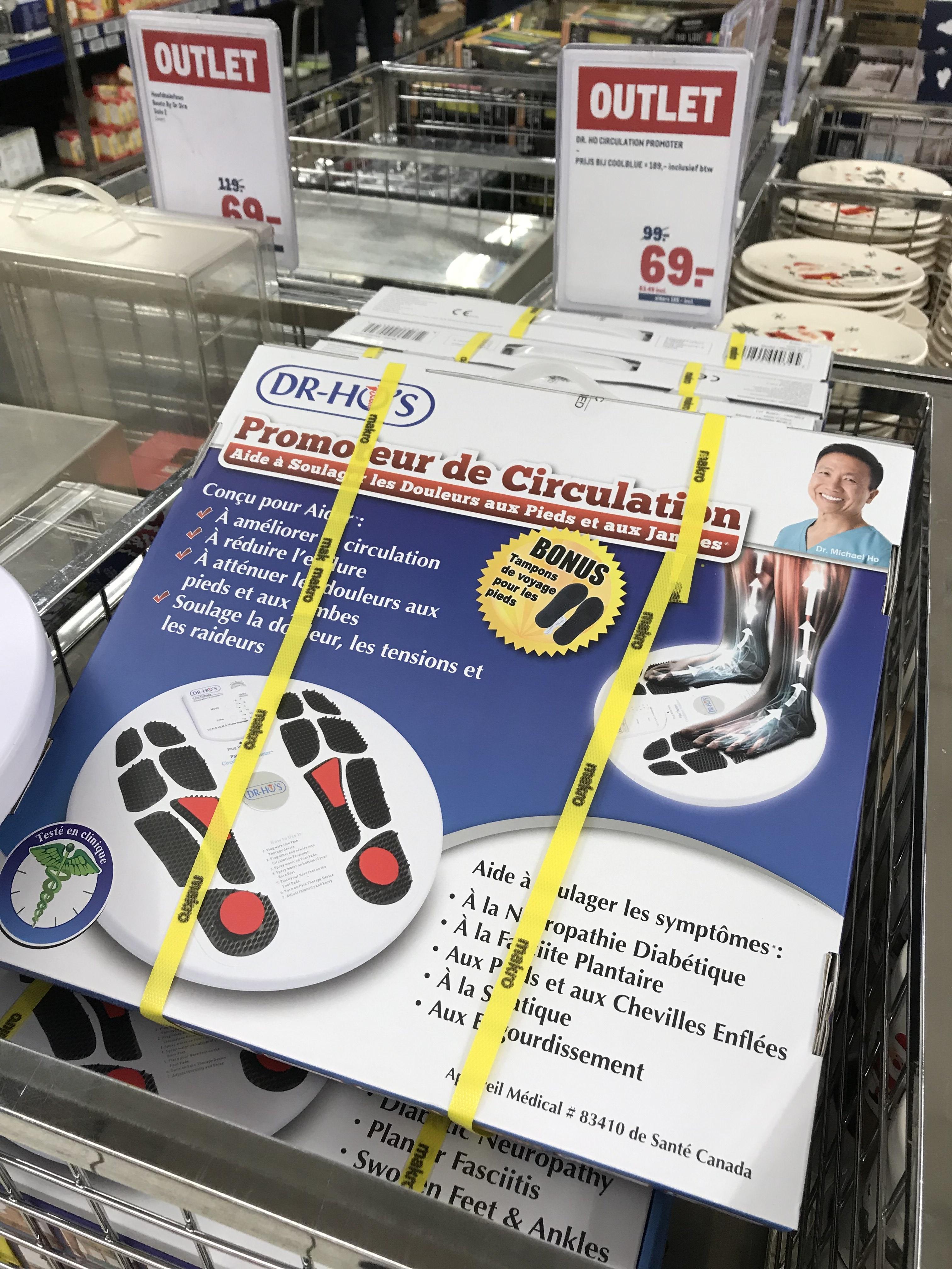 Dr HO circulaties promoter voetenmassage bij Makro €69,- excl BTW 83,49 incl BTW