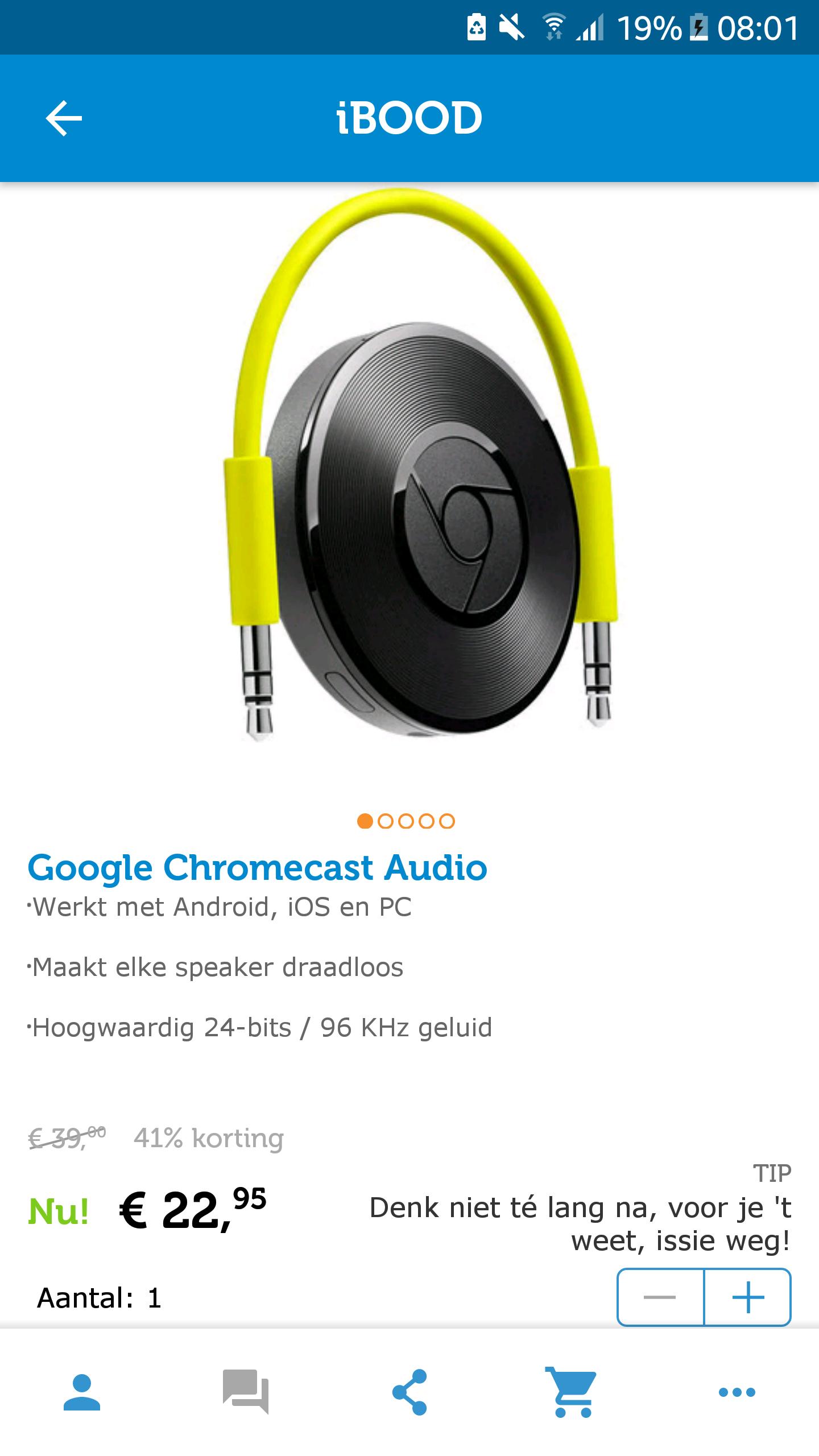 Google chromecast audio voor €28.90 incl verzendkosten.@ ibood