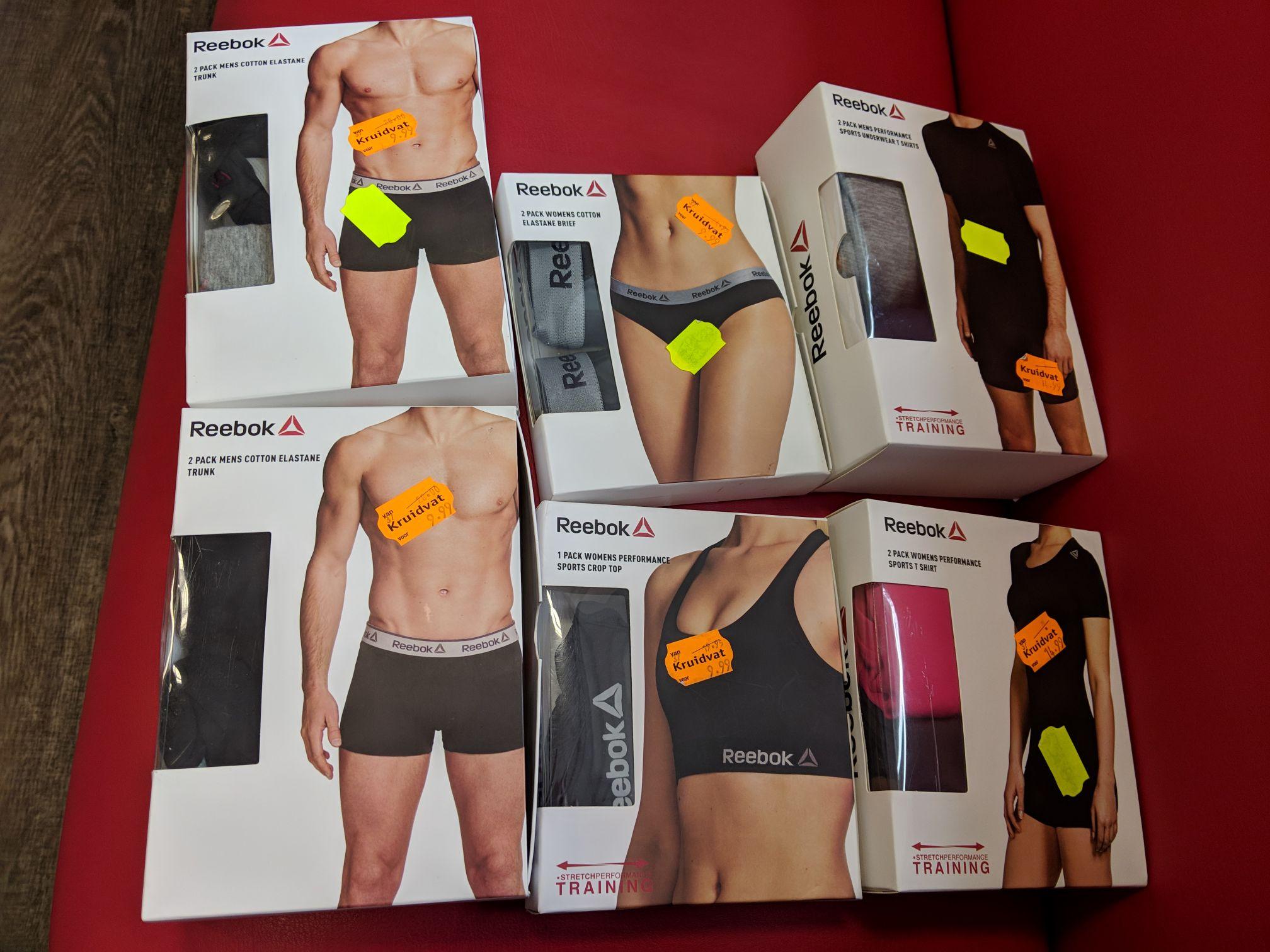 REEBOK bij de Kruidvat €2,50 voor 2 mannen boxers/2 vrouwen slips/sport bh en €3,75 voor 2 sport t-shirts man/vrouw