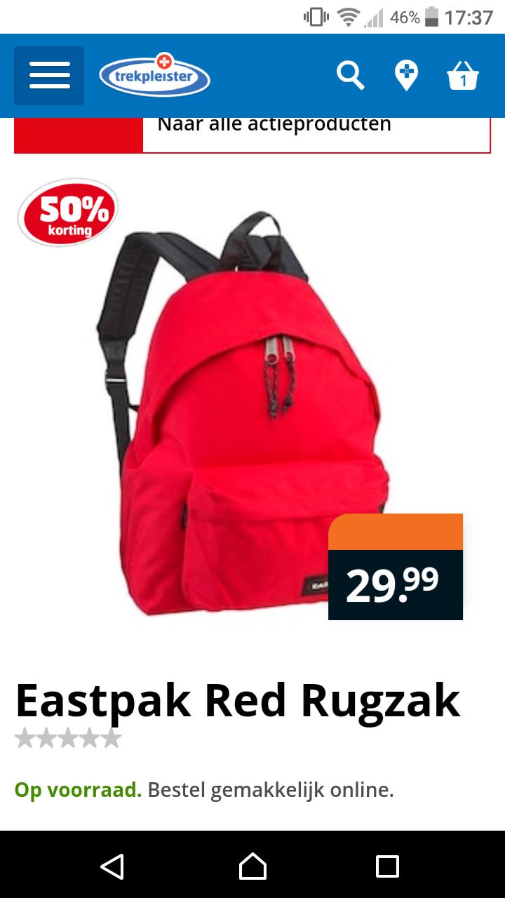 Eastpak red rugzak bij de trekpleister 50% korting