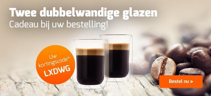2 dubbelwandige glazen 'cadeau' + dagje sauna @Koffievoordeel