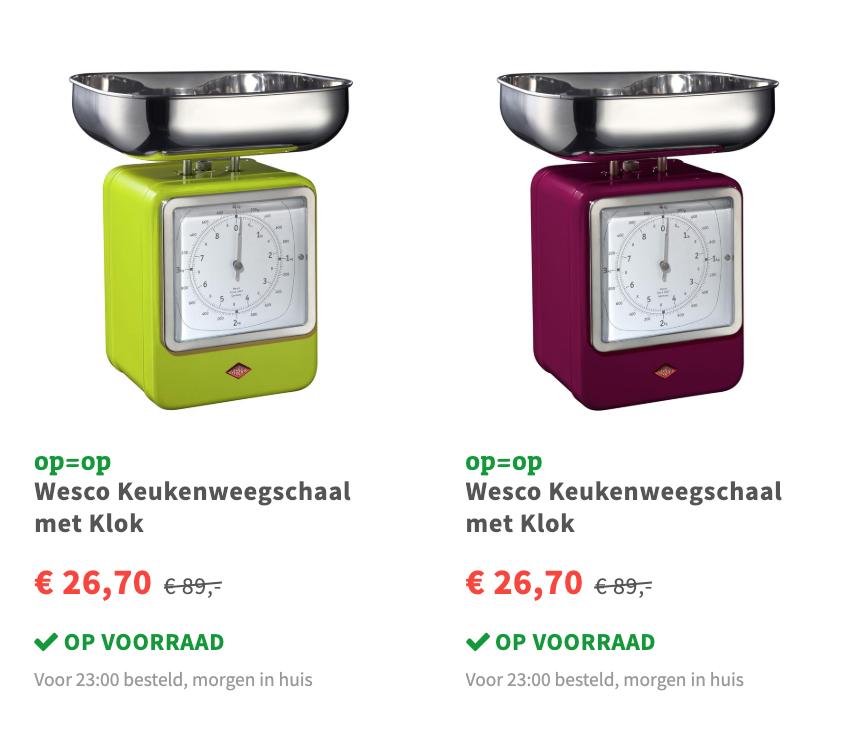Wesco Keukenweegschaal met Klok voor €26,70 @ fonQ