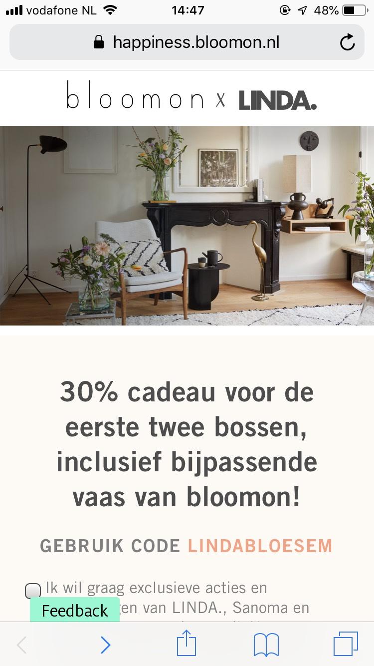 BLOOMON - 30% korting op eerste 2 bossen en bijpassende vaas gratis