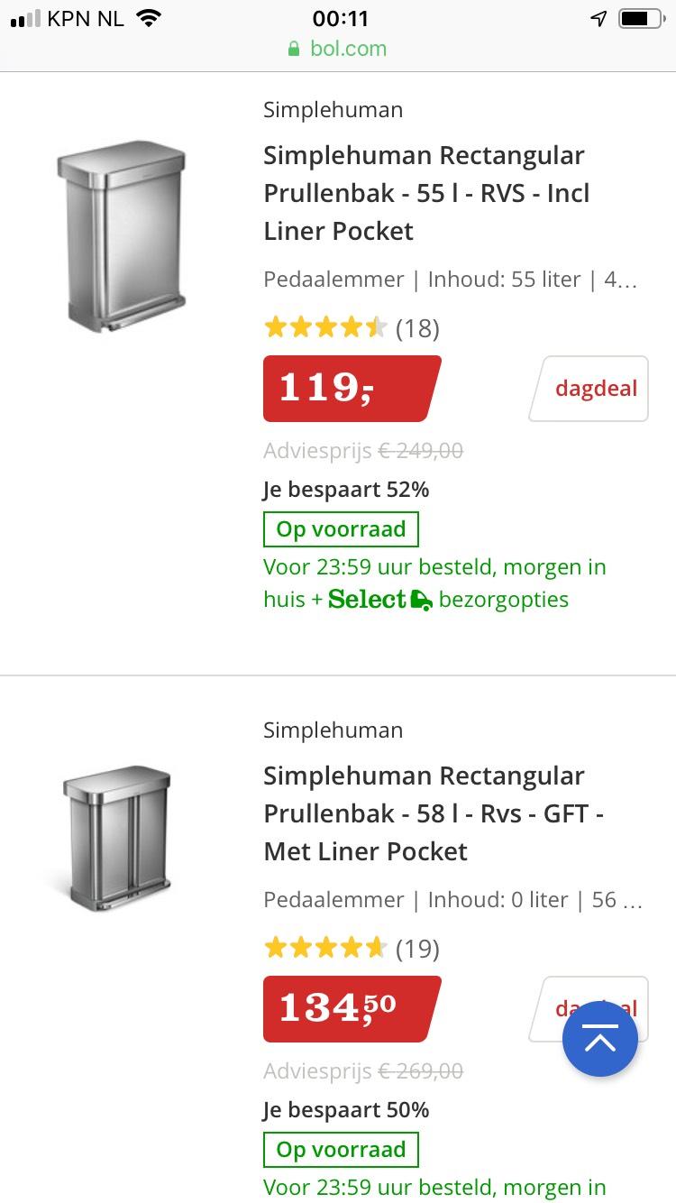 Dagdeal bol minimaal 30% korting op super mooie prullenbakken @bol