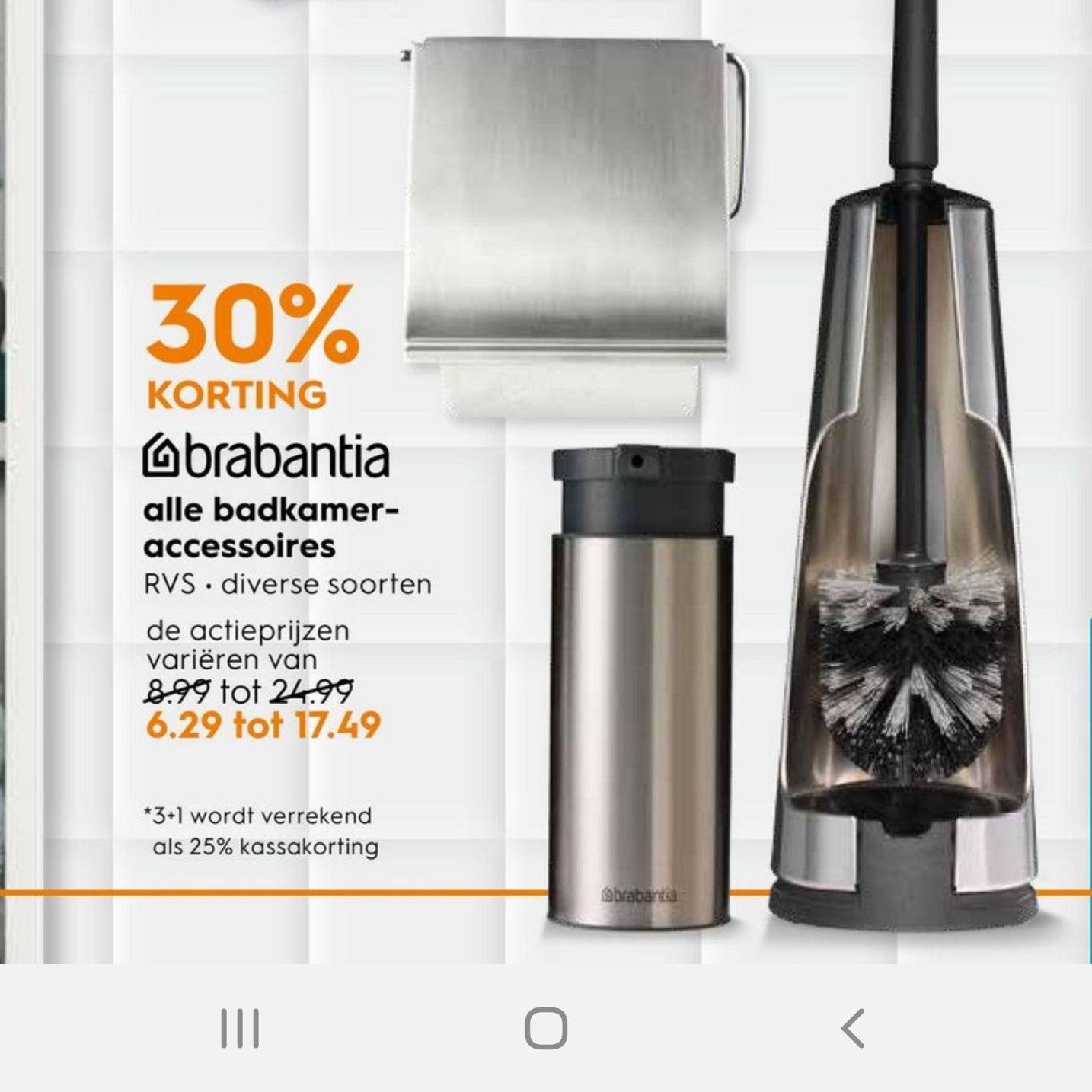 30% korting op Brabantia - hele badkamer accessoires vanaf *Maandag* b.v. wc borstel €17,49