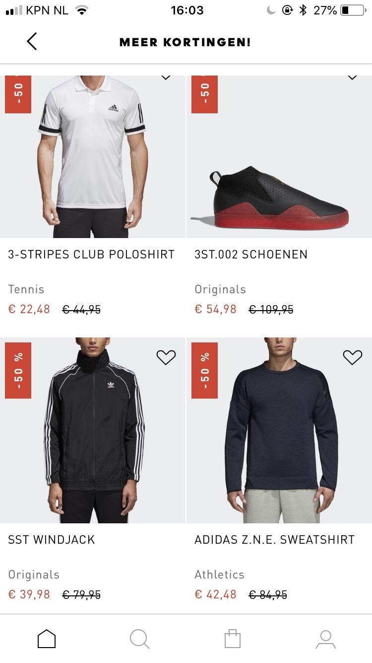 Alle sale artikelen nu met 50% korting @ adidas