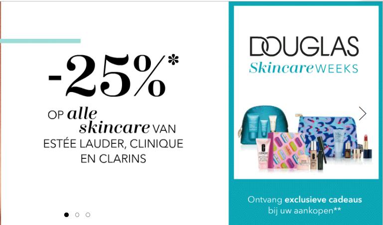 25% korting op alle skincare van Estée Lauder, Clinique en Clarins + cadeau bij Douglas