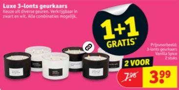 Luxe 3-lonts geurkaarsen 1+1 gratis @ Kruidvat