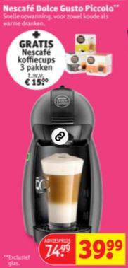 Dolce Gusto Piccolo + 3 dozen cups cadeau t.w.v. €15 @ Kruidvat