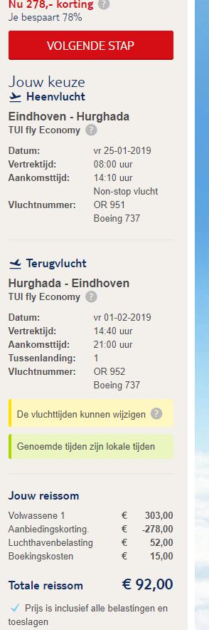 Eindhoven hurghada last minute 1 week 92 euro (TUI vlucht retour)