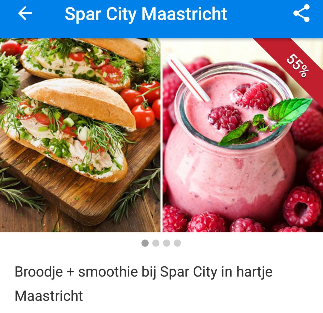 Spar City Maastricht: Smoothie en broodje (bijvoorbeeld zalm, carpaccio) voor €2,45