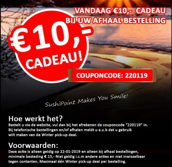VANDAAG €10 korting op je afhaalbestelling @ Sushipoint (landelijk)