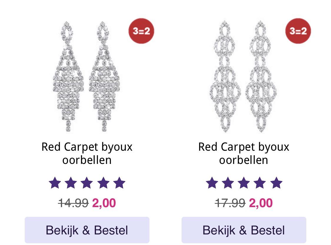 Red Carpet Byoux oorbellen voor €2,- (3 voor €4,-) @Lucardi