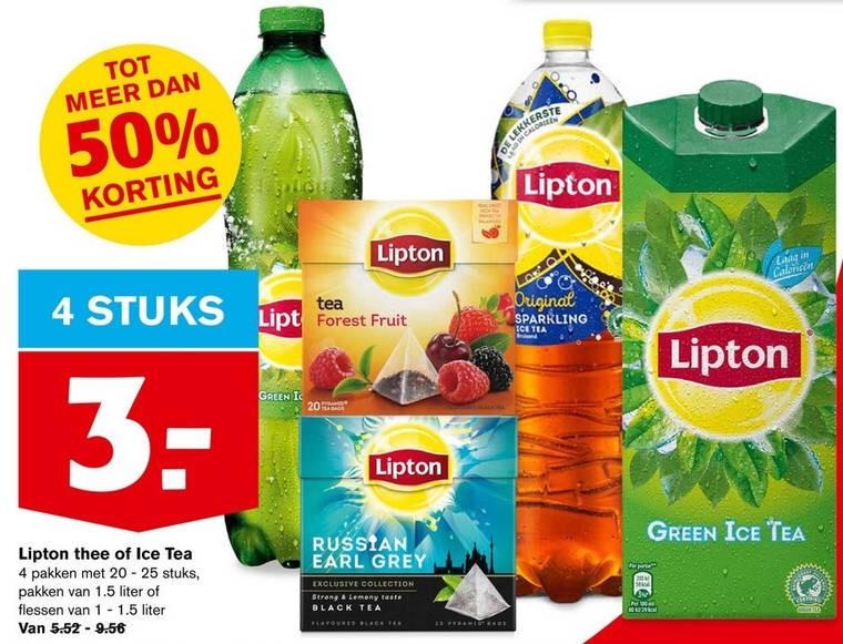 Alle Lipton 4 stuks voor maar €3 @Hoogvliet