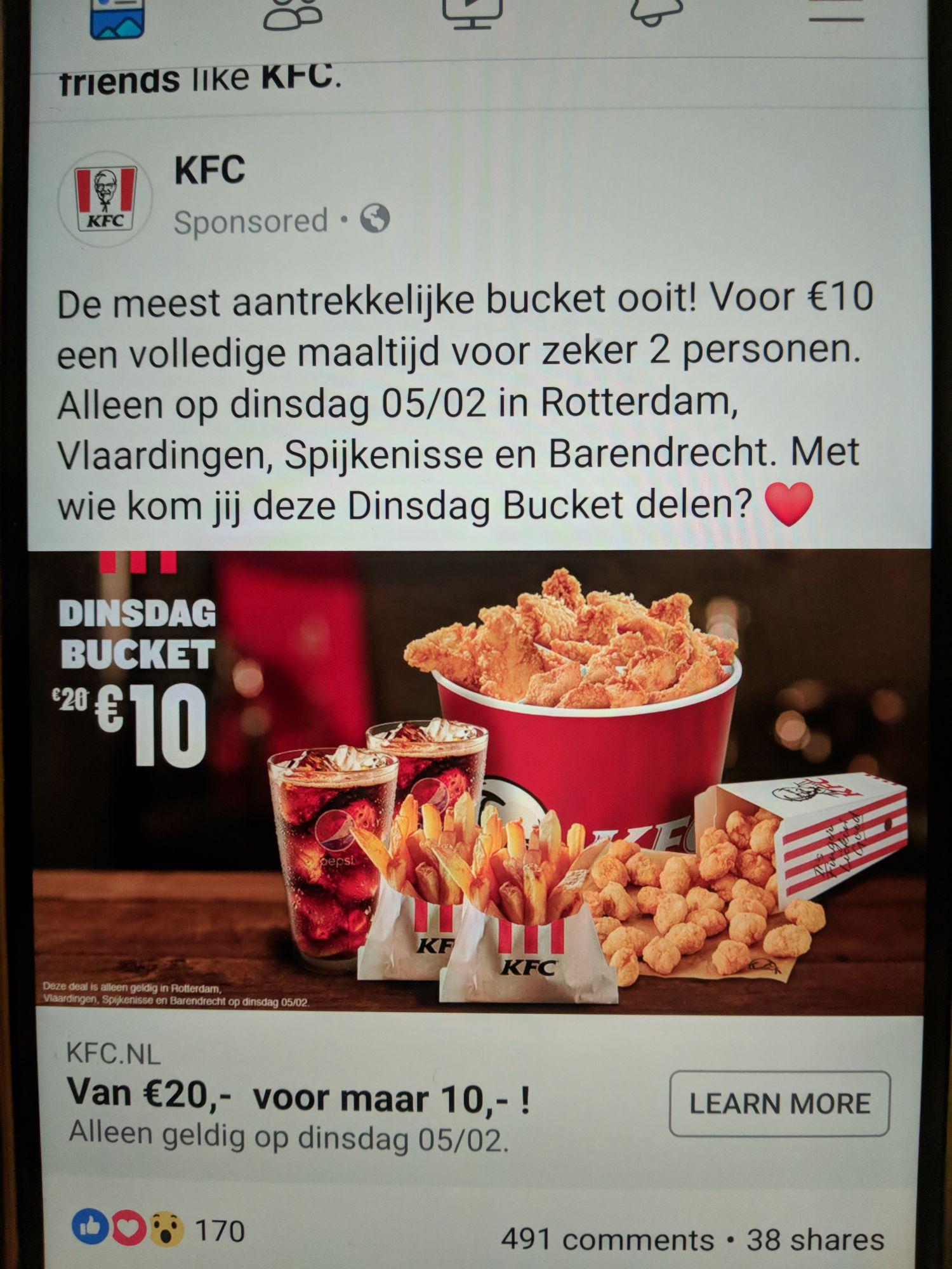 KFC Rotterdam: WOW bucket voor 10eur. -50%.