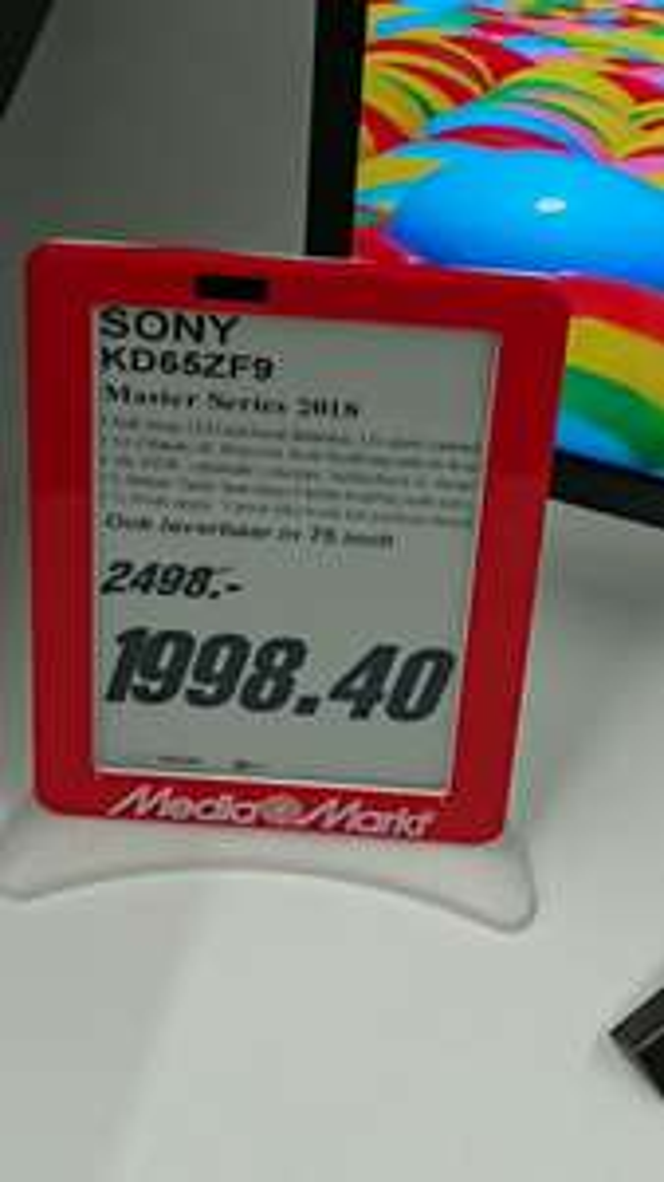 Sony toptoestel LED KD65ZF9 voor slechts 1998,40 euro
