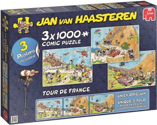 23% korting - Jan van Haasteren Tour de France 3 in 1 Puzzel 3x 1000 Stukjes