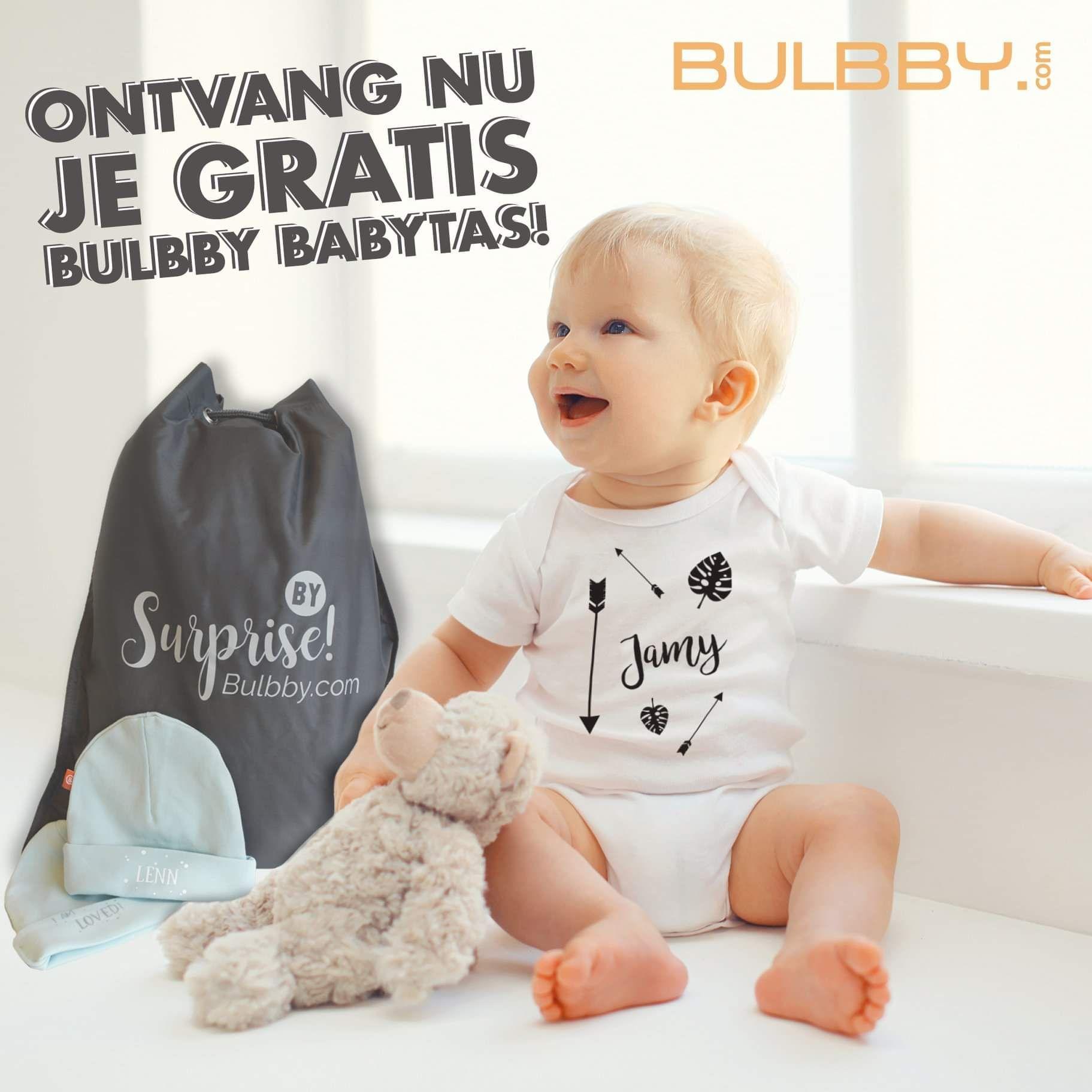 Gratis bulbby babytas incl. mutsje met naam