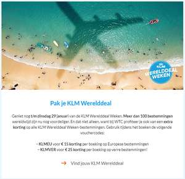 KLM €15 korting op boeking Europese bestemmingen via World Ticket Center