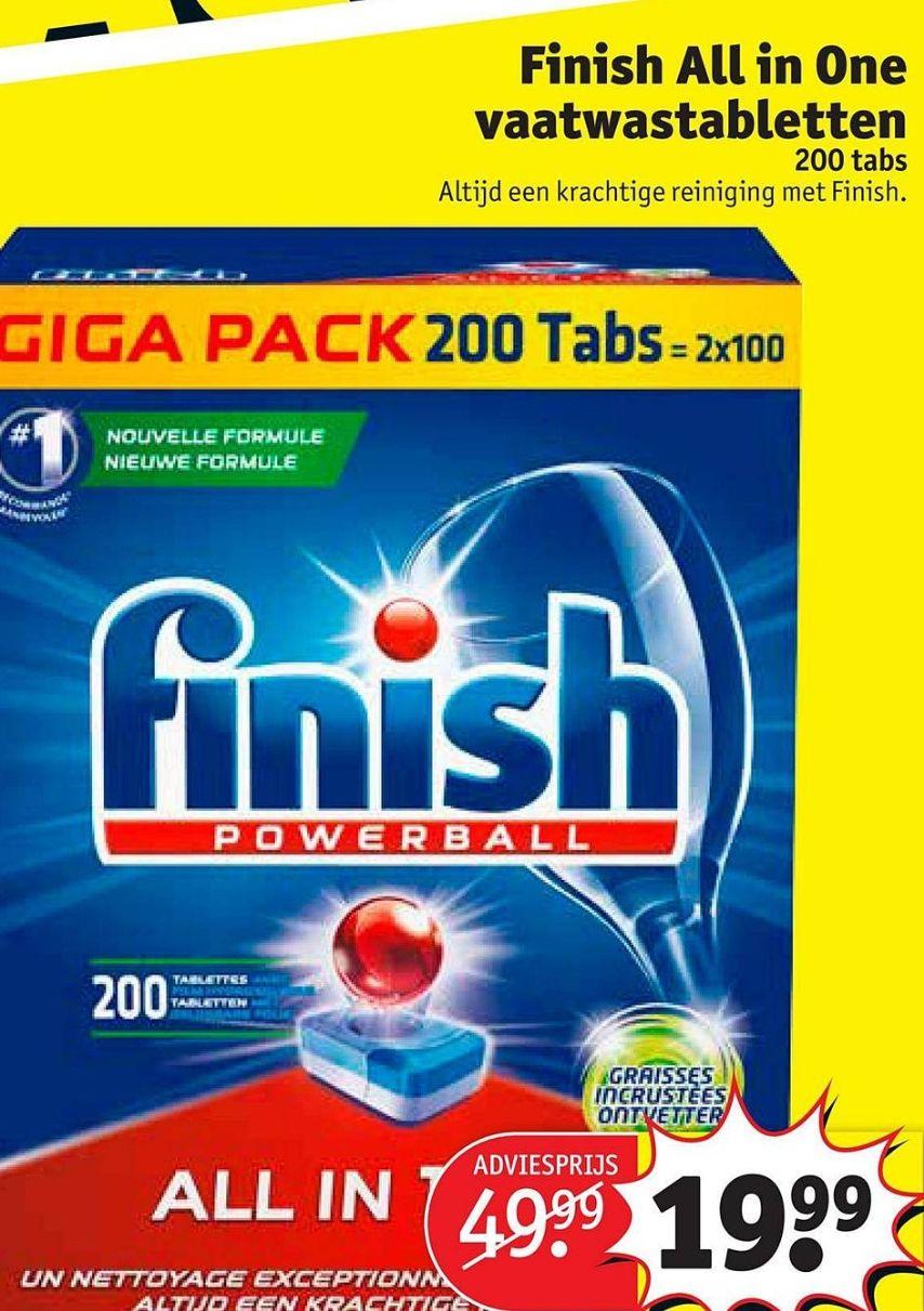 Finish All in One vaatwastabletten - 200 stuks (i.p.v. €49,99) @Kruidvat